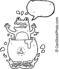 speech bubble cartoon funny halloween toad - freehand drawn...