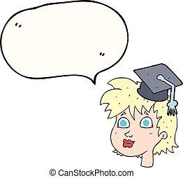 speech bubble cartoon graduate woman