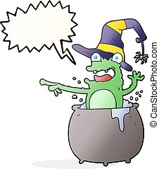 speech bubble cartoon halloween toad - freehand drawn speech...