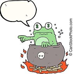 speech bubble cartoon halloween toad in cauldron - freehand...