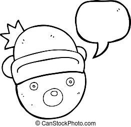 speech bubble cartoon teddy bear wearing christmas hat