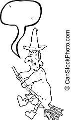 speech bubble cartoon witch flying on broom