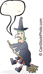 speech bubble cartoon witch flying on broom