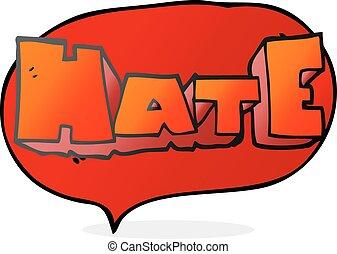 speech bubble cartoon word Hate - freehand drawn speech...