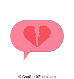 speech bubble chat with heart broken