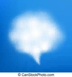 Speech bubble cloud on blue sky. EPS 10