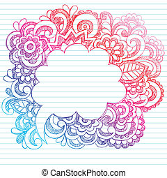 Hand-Drawn Sketchy Notebook Doodles Paisley Comic Speech Bubble Design Elements on Lined Paper Background- Vector Illustration