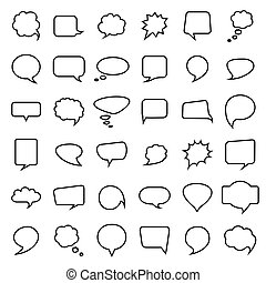 Speech bubble collection. Thirty six blank hand drawn.