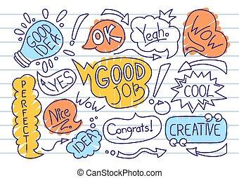 Speech bubble comic doodle set dialog cloud vector