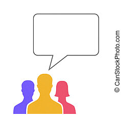 Speech Bubble Communication Concept - Paper human figures...