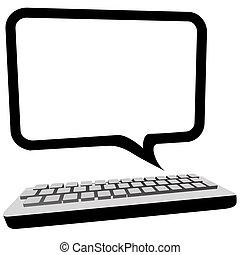 Speech bubble communication copyspace on computer monitor -...
