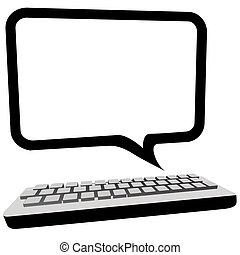 Type blog, email or other text in this speech bubble copyspace as a computer monitor above a keyboard.