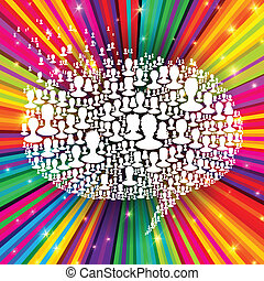 Speech bubble, composed from many people silhouettes on colorful rays background. Social network concept, vector, EPS10