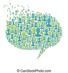 Speech bubble, composed from many people silhouettes. Social...