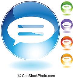 speech bubble crystal icon - speech bubble crystal isolated...
