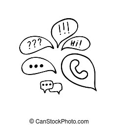 Speech Bubble Doodle Set. Hand Drawn Sketch Chat Bubbles Icon Isolated on White Background. Vector Illustration