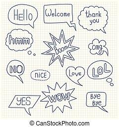 Speech bubble doodle set