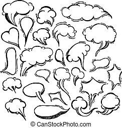 Speech Bubble Doodles Hand Drawn.