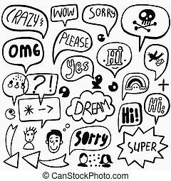 Speech bubble doodles