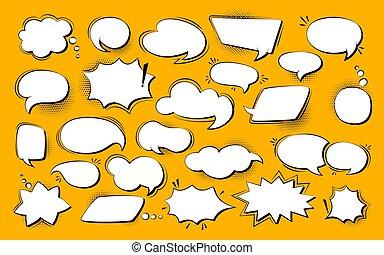 Speech bubble empty comic pop art retro set vector