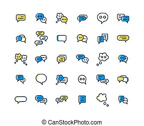 Speech Bubble filled outline icon set. Vector and ...
