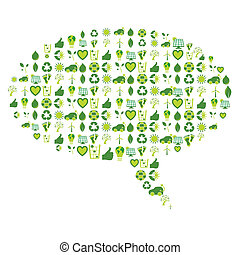 Speech bubble filled with bio eco environmental related icons and symbols