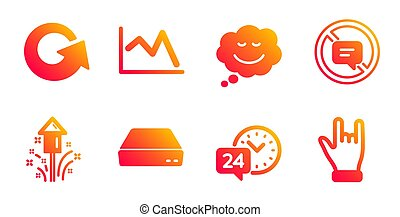 Speech bubble, Fireworks and 24h service icons set. Line chart, Reload and Stop talking signs. Vector