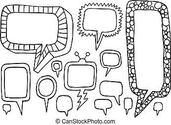 Speech Bubble Funky Doodle Vectors