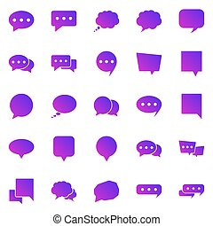 Speech Bubble gradient icons on white background