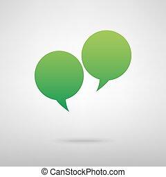 Speech bubble. Green icon