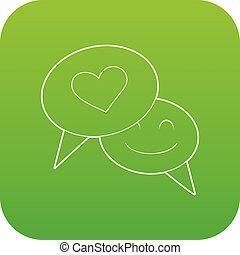 Speech bubble heart icon green vector