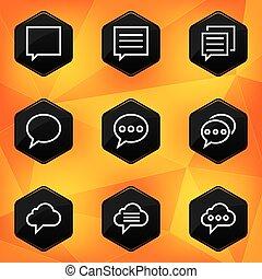Speech bubble. Hexagonal icons set on abstract orange background