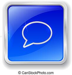 Speech bubble icon on blue button