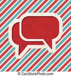 Speech Bubble Icon on Retro Striped Background.