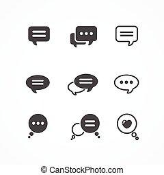 Speech bubble icon set on white background