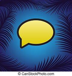 Speech bubble icon. Vector. Golden icon with black contour at bl