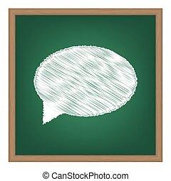Speech bubble icon. White chalk effect on green school board.