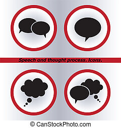 Speech bubble icons black icon, vector illustration. Flat design style