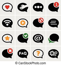 Speech bubble icons set for web and mobile application