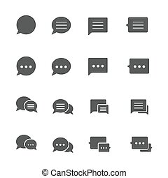 Speech bubble icons set on white background. Vector...