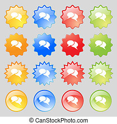 Speech bubble icons. Think cloud symbols. Big set of 16 colorful modern buttons for your design.