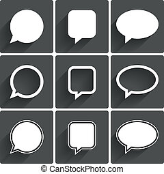 Speech bubble icons. Think cloud symbols. Vector