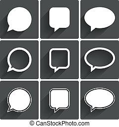 Speech bubble icons. Think cloud symbols. Vector