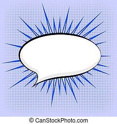 Speech Bubble on Blue Dotted Background. Retro Comic Speech...