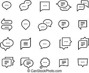 Speech bubble line icons. Talk chat thin conversation dialog symbols, voice message comic cloud. Vector social communication set