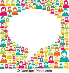 White social speech bubble shape over diversity people crowd background. Vector file layered for easy manipulation and custom coloring.