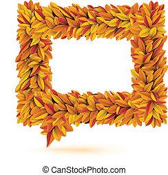 Speech bubble of autunm fall orange leaves