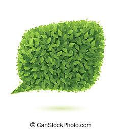 Speech bubble of green leaves