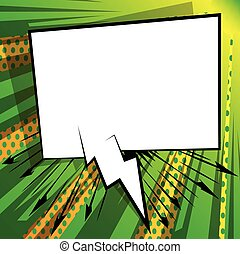Speech bubble on comic book background.