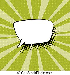 Speech Bubble on Green Retro Background